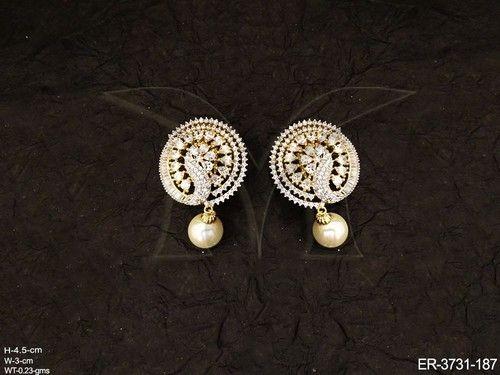 Manek Ratna Dancing Peacock Shape American Diamond Earrings