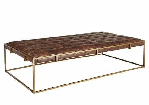 Brass Brown Leather Iron Leather Coffee Table Ottoman Rs 14000