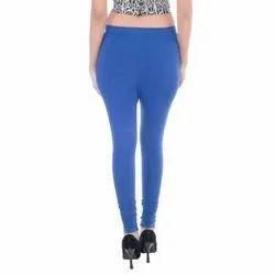 Blue Plain Churidar Cotton Leggings