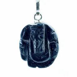 Black Stone Sliver Pendant Ganesha (4.16 Grams)