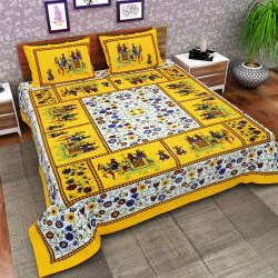 Jaipuri Cotton Tc120 Animal Printed Double Bed Sheet And Two Pillow Cover With Zip