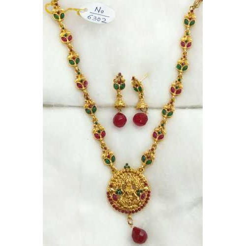 Brass Ethnic Traditional Gold Plated Long Haram Mala Necklace