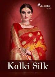 Vellora Vol-12 Kalki Silk Rich Banarasi Saree Catalog