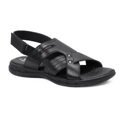 Genuine Leather Red Chief RC3466 PU Black Sandals, Size: 9 And 10