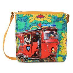 Red Auto Rickshaw Canvas and Faux Leather Sling Bag