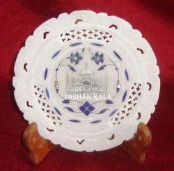 Round Marble Taj Mahal Plate