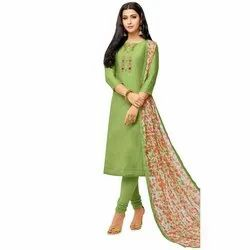 Rajnandini Light Green Chanderi Silk Embroidered Semi-Stitched Dress Material With Printed Dupatta