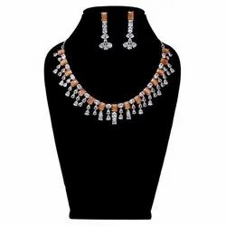 Available In Zinc,Brass White Modern Artificial Necklace Set