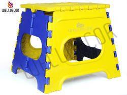 Plastic Folding Stool 12 Inch (yellow & Blue)