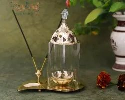 Round HHIGS016 HHI German Silver Diya with Oil Lamp, Size: 16 x 18 cm