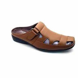 Men Brown PU Leather Slipper