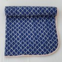 Indigo Blue Handmade Printed Kantha Quilted Baby Quilt