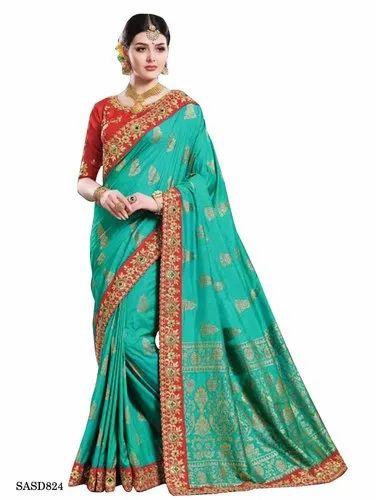 04fac8657f TraditionalFashionDesigner Wedding Wear Green Color Dola Silk Saree, 5.5 m  (separate blouse piece)