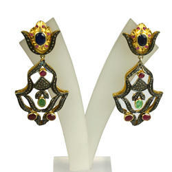 Pave Diamond Multi Color Precious Gemstone Push-back Earring