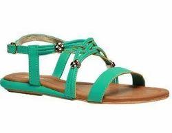 Bata Green Flat Sandals For Women F561720300
