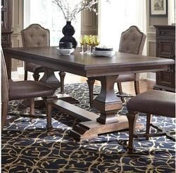 DANWAY Brown Double Pedestal Dining Table