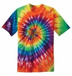 CUSTOM BRAND Cotton Tie & Dye Round Neck T-Shirt