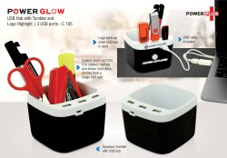 C105 - Powerglow USB Hub With Tumbler And Logo Highlight 3 Usb Ports