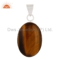 Sterling Silver Oval Shaped Tiger Eye Gemstone Pendant Jewelry