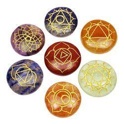 Arihant Crystal Multicolor Chakra Round Cabochon Set