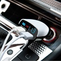 Dual USB Car Charger, With LED Display, 3.4 Amp Superfast Charging (White)