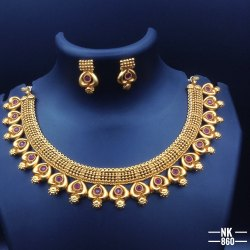 High Gold Plated Copper Jewellery Set - NK 860