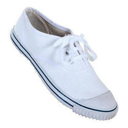 Canvas White PT School Shoes, Packaging: Box