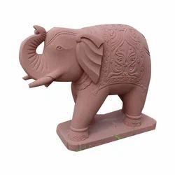 Stone Pink Elephant Statue, For Exterior Decor