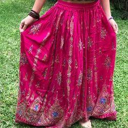 Rayon Pink Crepe Skirts