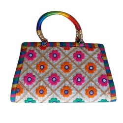 Multicolor Cotton Embroidered Ladies Hand Bag