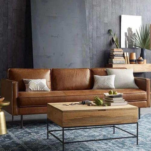 Plain Brown Leather Sofa Living Room