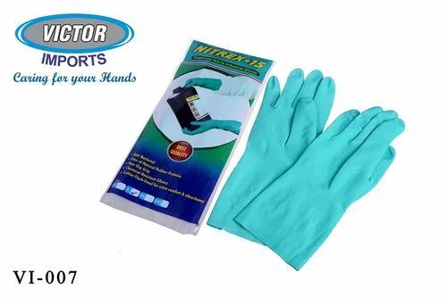 Green Blue Nitrex 15 Flock Lined Industrial Nitrile Hand
