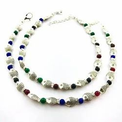 D9 Creation Silver Oxidized Multicolor Stone Anklets