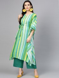 La Firangi Kaftan Set Green