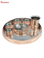 Copper / Stainless Steel Dinner Set (Curved) - 8 Pcs