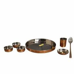 Steel Copper Thali Set