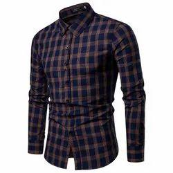 Collar Neck Mens Slim Fit Cotton Check Shirt, Size: M-XXL