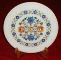 White Round Marble Inlay Decorative Plate, For Home, Standard
