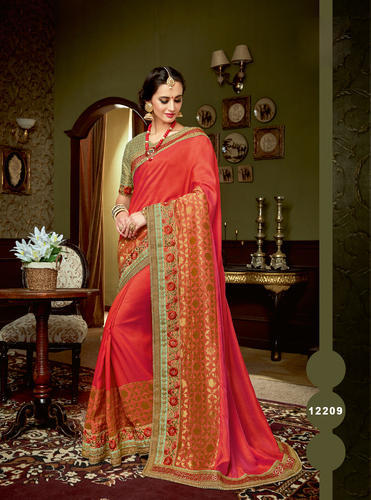 8d64c615c4 Red Embroidered Designer Dule Tone Silk Saree With Embroidery Work ...