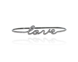 Diamond Love Initial Letter Bangle