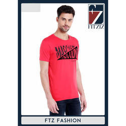 Mens Round Neck Trendy Red Printed T Shirt