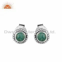 Amazonite Gemstone Oxidized Silver Tiny Stud Earrings
