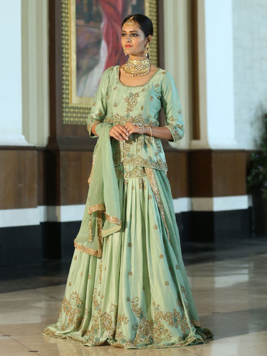 4d6d24971a Silk Raw Heena Pista Green Embroidered Stitched Lehenga With Designer  Chiffon Dupatta, Dupatta Fabric: