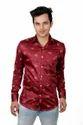 Casual Wear Vida Loca Men Satin Cotton Dark Red Color Printed Shirt