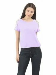 Ladies Boat Neck T-Shirt with Lace