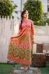 Women Anarkali Cotton Long Kurti