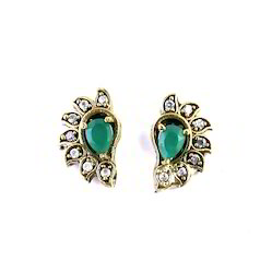 Samriddhi Creation Green Stone Stud, Size: 6*4 Pears