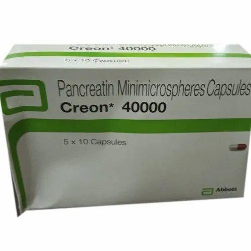 Creon 40000 Pancreatin Minimicrospheres Capsules Packaging Type Box