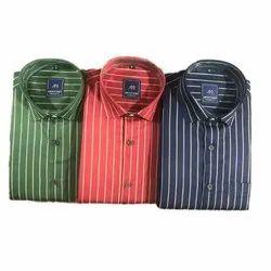 About Men Collar Neck Mens Readymade Striped Cotton Shirt, Size: L-4XL