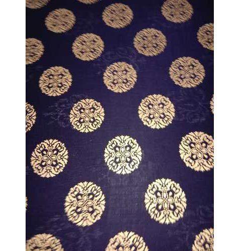 Printed Rayon Fabric Gold Print